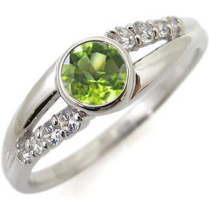 指輪 ペリドット 一粒 8月誕生石 リング