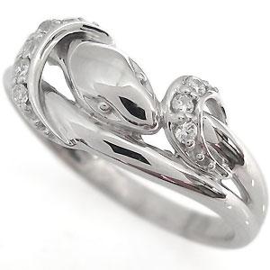 プラチナ・指輪・蛇・ダイヤモンド・リング