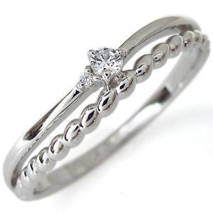 プラチナ・ピンキーリング・ダイヤモンド・華奢・リング・指輪
