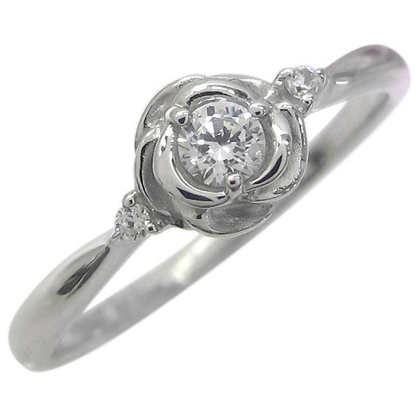 プラチナ エンゲージリング フラワー 婚約指輪 ダイヤモンド