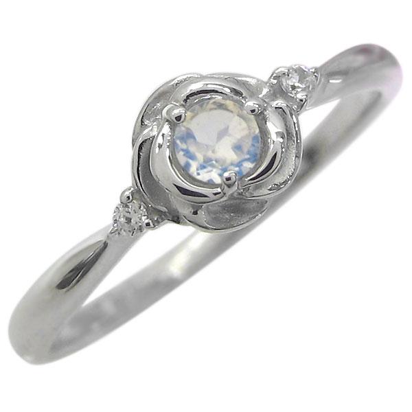 ロイヤルブルームーンストーン リング 18金 フラワー 指輪