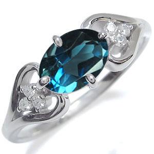 プラチナ オーバル ハート リング ロンドンブルートパーズ 指輪 大粒