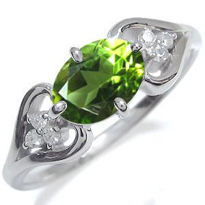 プラチナ オーバル ハート リング ペリドット 指輪 大粒