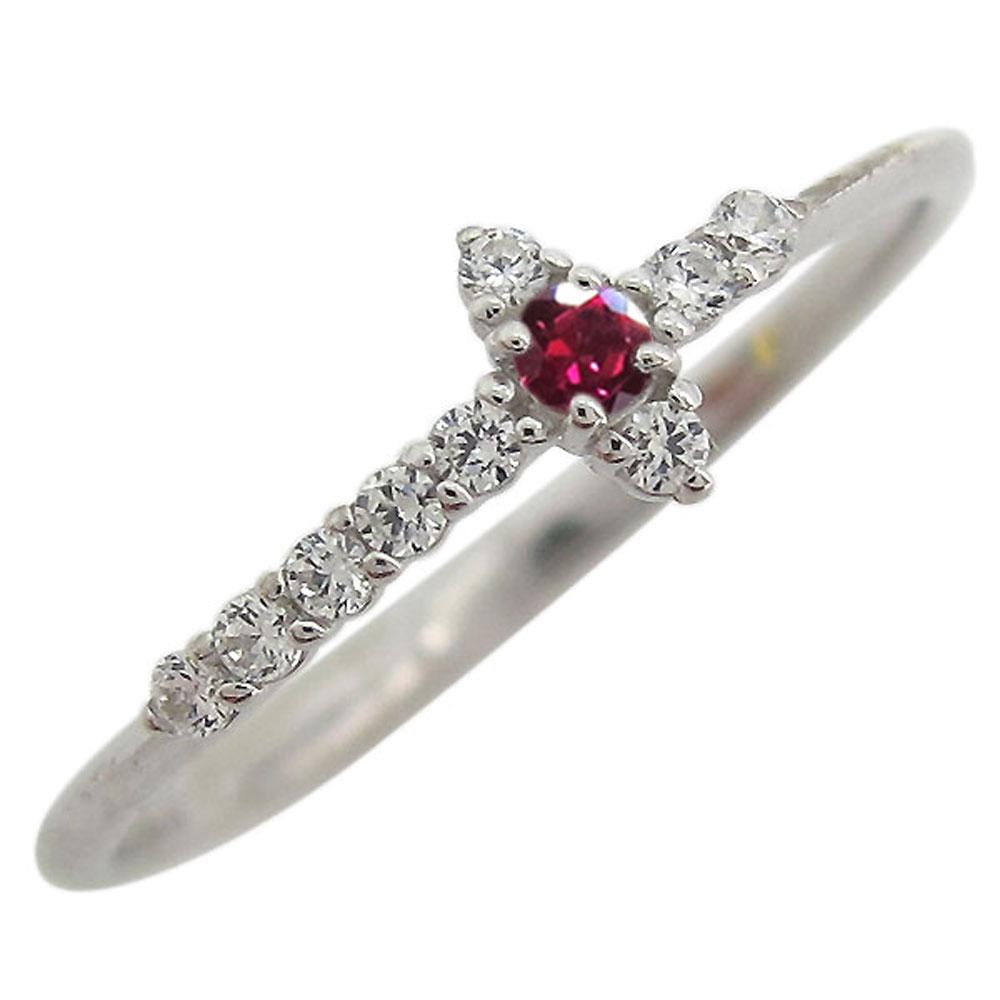 プラチナ ルビー ミディリング クロス 指輪