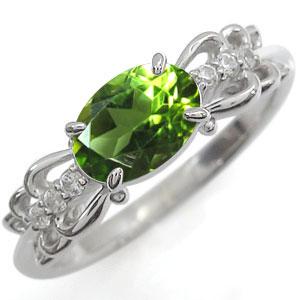 リング ペリドット プラチナ 指輪