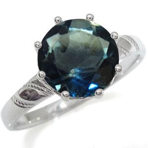 プラチナ 指輪 大粒 リング ロンドンブルートパーズ 指輪 蔦