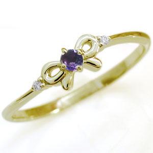 【10%OFF】4日20時~ 選べる誕生石 リボン 指輪 K10 ピンキーリング