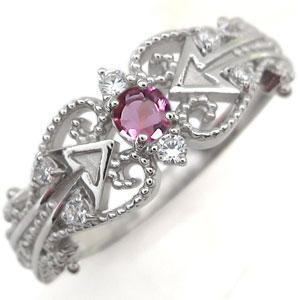 プラチナ ピンクトルマリン キューピッド リング 矢印 プラチナ 指輪