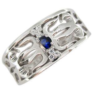 送料無料 サファイアリング メンズ トライバルリング 指輪 唐草 メンズリング サファイア リング 唐草 18金 指輪