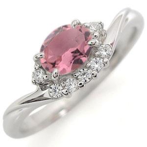 ピンクトルマリン リング プラチナ 大粒リング 指輪