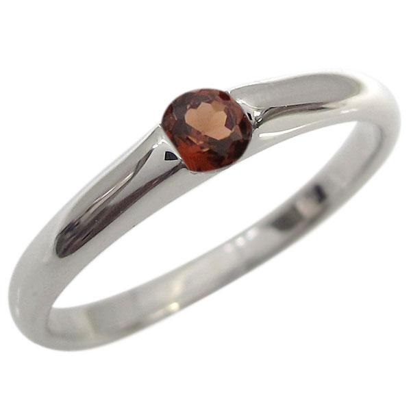 プラチナ ガーネット ピンキーリング 指輪 シンプル リング
