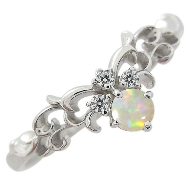 オパール ティアラ リング プラチナ 指輪