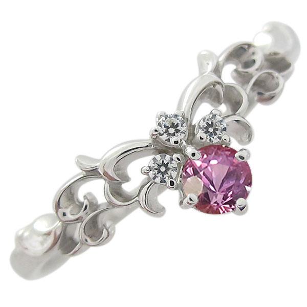 ピンクサファイア ティアラ リング プラチナ 指輪