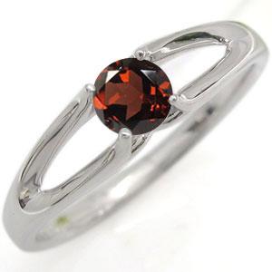 ガーネット 婚約指輪 プラチナ エンゲージリング 一粒 リング