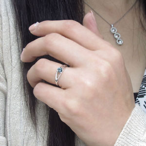 アクアマリンサンタマリア 婚約指輪 プラチナ エンゲージリング 一粒 リングCxBrdoe