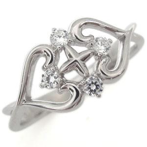 プラチナ ダイヤモンド リング クロス ハート 指輪