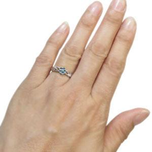 プラチナ ブルートパーズ 花 エンゲージリング フラワー 婚約指輪QrCthsd