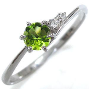 ペリドット リング シンプルリング K10 指輪