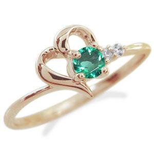 【10%OFF】4日20時~ ハートリング 指輪 誕生石 ピンキーリング 10金