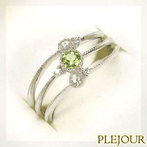 プラチナリング・ペリドットリング・ダイヤモンド付き3連リングpt900指輪【1105-m】