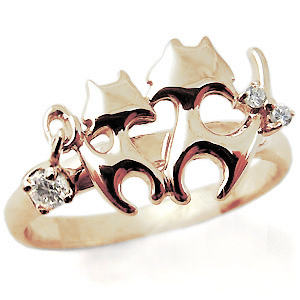 【10%OFF】4日20時~ ダイヤモンド・リング・ネコ(猫)・指輪・10金