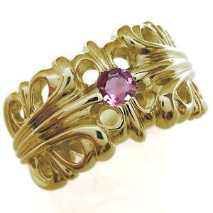 送料無料 メンズ シルバー ピンクトルマリン リング 10月誕生石ピンクトルマリン・18金・リング・メンズ・百合の紋章・クロス・メンズリング・指輪