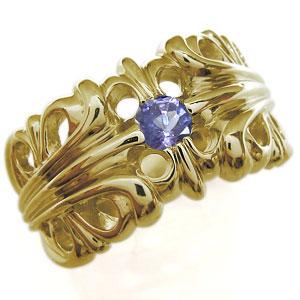 K10ゴールド・タンザナイト・リング・メンズリング・指輪・クロス・リング・百合の紋章・リング