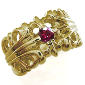 送料無料 メンズ 18金 ルビー リング 7月誕生石ルビー・18金・リング・メンズ・百合の紋章・クロス・メンズリング・指輪
