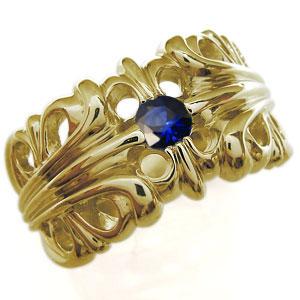送料無料 メンズ シルバー サファイヤ リング 9月誕生石サファイア・18金・リング・メンズ・百合の紋章・クロス・メンズリング・指輪