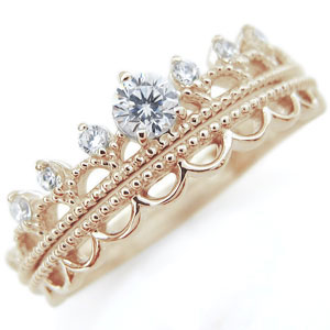 【10%OFF】4日20時~ 天然石 ダイヤモンド リング ティアラ K10 指輪