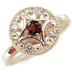 ガーネット エンゲージリング アンティーク K10 婚約指輪