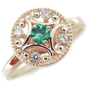 エメラルド エンゲージリング アンティーク K10 婚約指輪