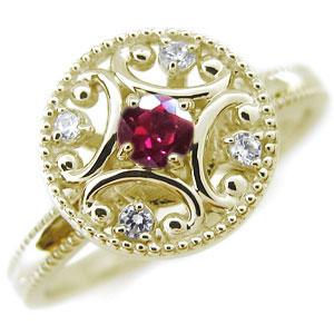 ルビーリング K18 アンティーク ルビー 婚約指輪