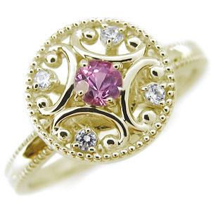ピンクサファイアリング・K18・アンティーク・ピンクサファイア・指輪