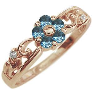 ブルートパーズ リング フラワー 花 K18 指輪
