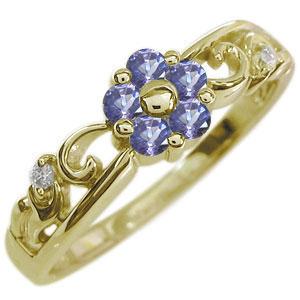 花 リング フラワー 指輪 10金 タンザナイトリング