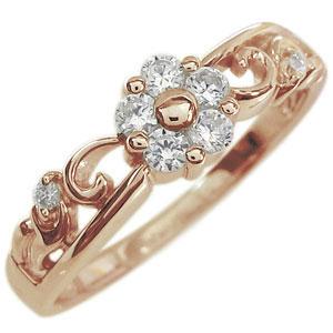 ダイヤモンド エンゲージリング フラワー 花 K18 婚約指輪 メレダイヤ