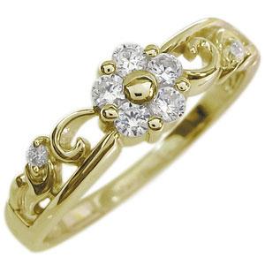 花 リング フラワー 指輪 10金 ダイヤモンドリング