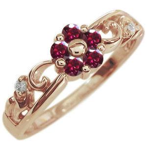 ルビー エンゲージリング フラワー 花 K18 婚約指輪