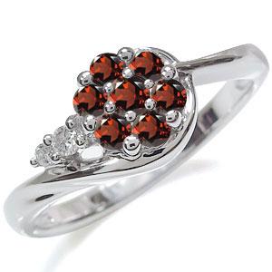 ガーネット 花 リング プラチナ フラワー 指輪