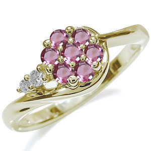【10%OFF】4日20時~ 10月誕生石 ピンクトルマリン リング K18 フラワー 花 指輪