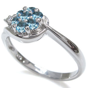 ブルートパーズ エンゲージリング K18 フラワー 花 婚約指輪shtQrdCx