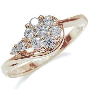 【10%OFF】4日20時~ フラワー・指輪・花・リング・10金・ダイヤモンドリング
