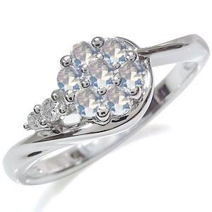 ロイヤルブルームーンストーン 花 リング プラチナ フラワー 指輪