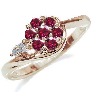 フラワー 婚約指輪 花 エンゲージリング 10金 ルビーリング