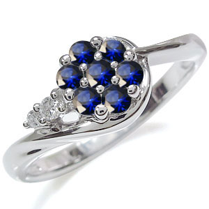 サファイア 花 リング プラチナ フラワー 指輪