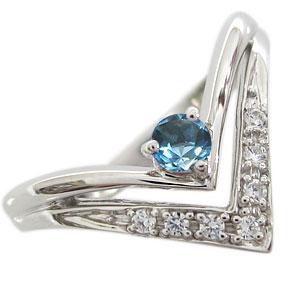 指輪 ブルートパーズ リング V字 リング K18 リング