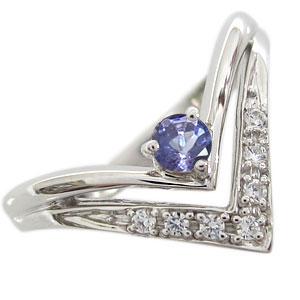 指輪 タンザナイト リング V字 リング K18 リング