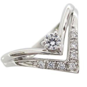 【10%OFF】4日20時~ ダイヤモンド リング V字 リング K10 指輪