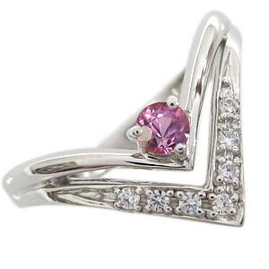 ピンクサファイア リング V字 リング K10 指輪